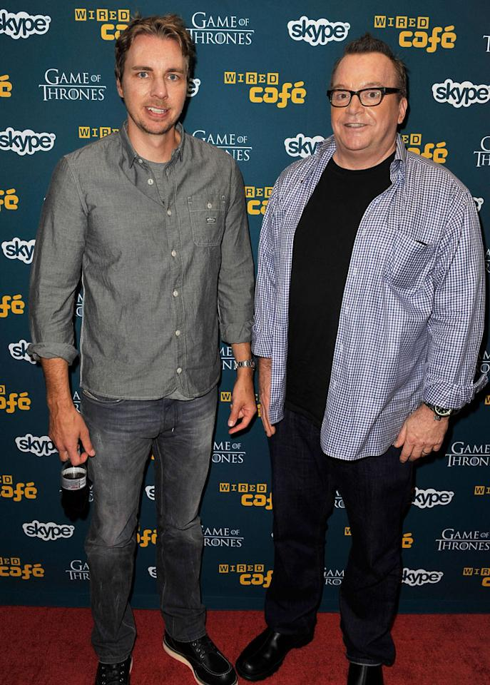 """Dax Shepard (""""Parenthood"""") and Tom Arnold at WIRED Cafe during Comic-Con International on July 12, 2012 in San Diego, California."""