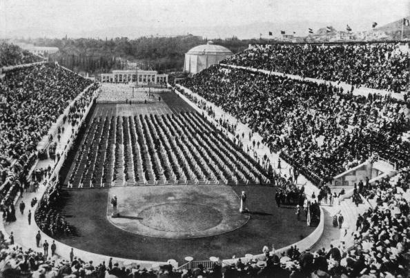 """<p>Considered to be the first """"modern"""" Olympic Games, the Athens opening ceremonies were a relatively simple affair. Athletes lined up in the infield of the Panathenaic Stadium (filled with 80,000 spectators), while nine bands and 150 choir singers performed the Olympic Hymn.</p>"""