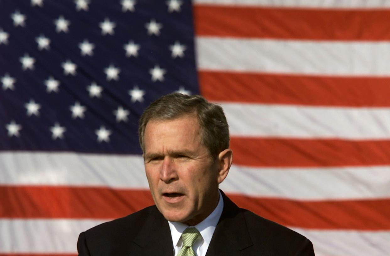 """<strong>""""There's no doubt in my mind, not one doubt in my mind, that we will fail."""" </strong> -- Oct. 4, 2001, in Washington. Bush was remarking on a back-to-work plan after the terrorist attacks. <a href=""""http://www.huffingtonpost.com/2009/01/03/bushisms-over-the-years_n_154969.html"""" rel=""""nofollow noopener"""" target=""""_blank"""" data-ylk=""""slk:Source: The Associated Press"""" class=""""link rapid-noclick-resp"""">Source: The Associated Press</a> (Photo by Mark Wilson/Getty Images)"""