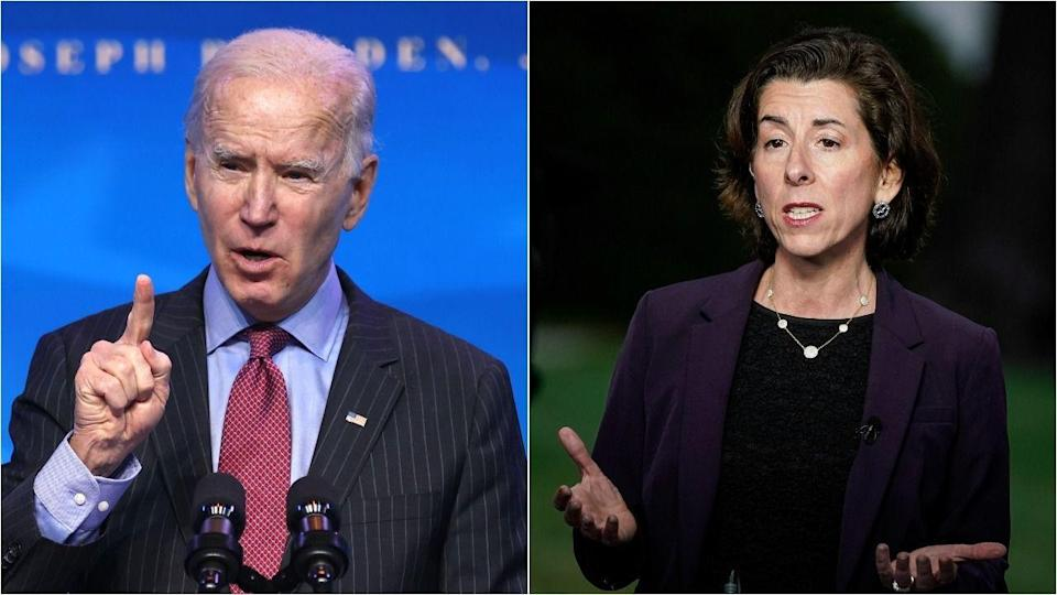 Progressives want President Joe Biden not to side with Commerce Secretary Gina Raimondo, right, who opposes waiving intellectual property protections on COVID-19 vaccines. (Photo: Getty Images)