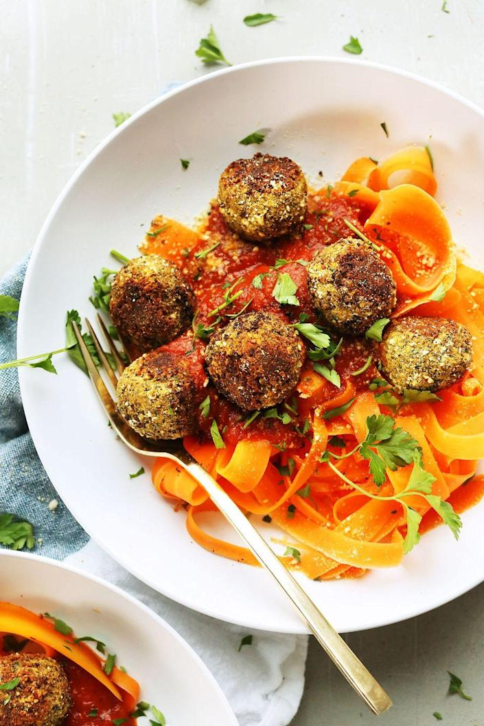 """<p>These meat(less)balls over veggie noodles are a vegan's dream.</p><p><em><a href=""""http://minimalistbaker.com/easy-lentil-meatballs/"""" rel=""""nofollow noopener"""" target=""""_blank"""" data-ylk=""""slk:Get the recipe from Minimalist Baker »"""" class=""""link rapid-noclick-resp""""><span class=""""redactor-invisible-space"""">Get the recipe from Minimalist Baker »</span> </a></em></p>"""
