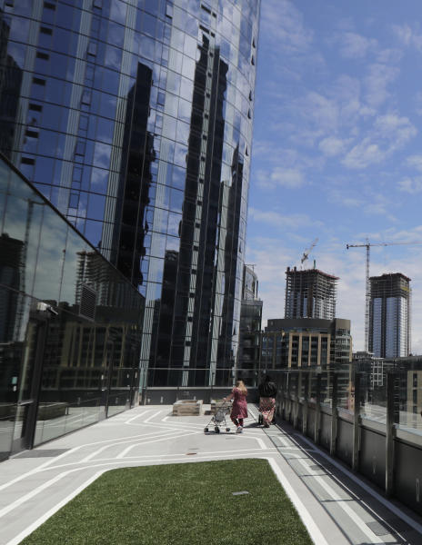 A rooftop patio outdoor space is shown at Mary's Place, a family homeless shelter located inside an Amazon corporate building on the tech giant's Seattle campus, Wednesday, June 17, 2020. The shelter marks a major civic contribution bestowed by Amazon to the hometown it has rapidly transformed. But the facility also serves as a stark display of haves-and-have-nots, given that some blame Amazon's explosive growth over the past decade for making living in Seattle too costly for a growing number of people. (AP Photo/Ted S. Warren)