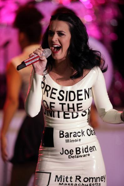 LAS VEGAS, NV - OCTOBER 24:  Singer Katy Perry performs at a campaign rally for U.S. President Barack Obama at Doolittle Park on October 24, 2012 in Las Vegas, Nevada. Obama is on a 48-hour campaign tour of battleground states, including Colorado, Florida and Iowa.  (Photo by John Gurzinski/Getty Images)