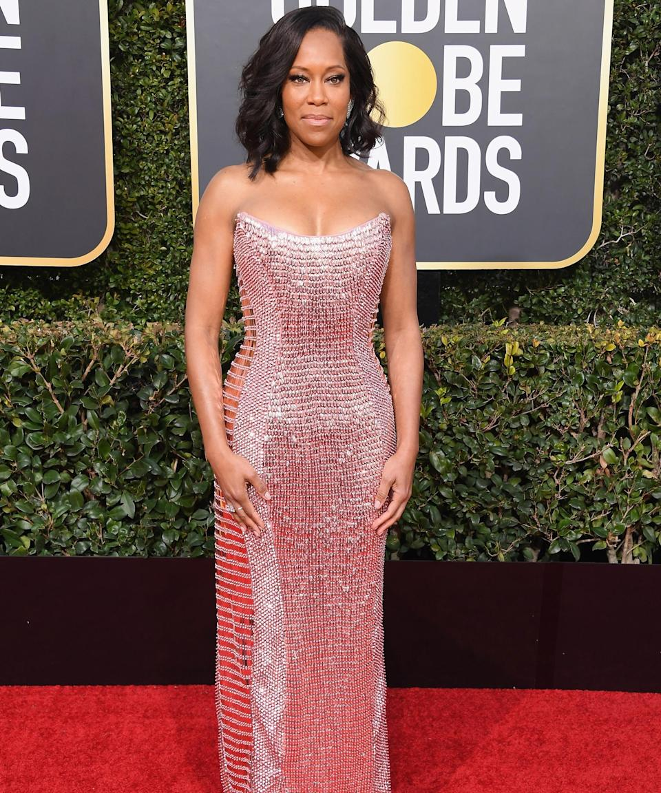 """<strong><h2>2019</h2></strong><br>Regina King is showing us how to do sequins after New Year's Eve in this custom bubblegum-pink body-con by Alberta Ferretti.<br><br><em>Regina King in custom Alberta Ferretti.</em><span class=""""copyright"""">Photo: Jon Kopaloff/Getty Images.</span>"""