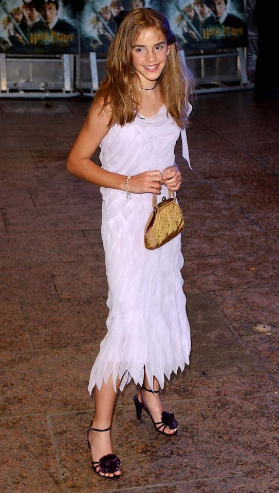 <p>Watson wears a pretty party dress to thepremiere of <em>Harry Potter and the Chamber of Secrets</em> on November 3, 2002, in London. (Photo: Getty Images) </p>