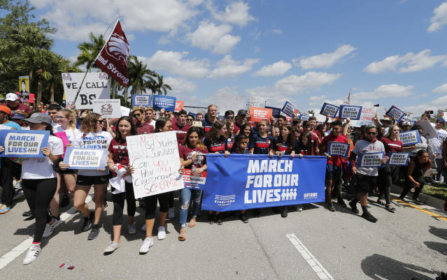 "<p>Marjory Stoneman Douglas High School students take part in a ""March For Our Lives"" rally in Parkland, Fla. (AP Photo/Joe Skipper) </p>"