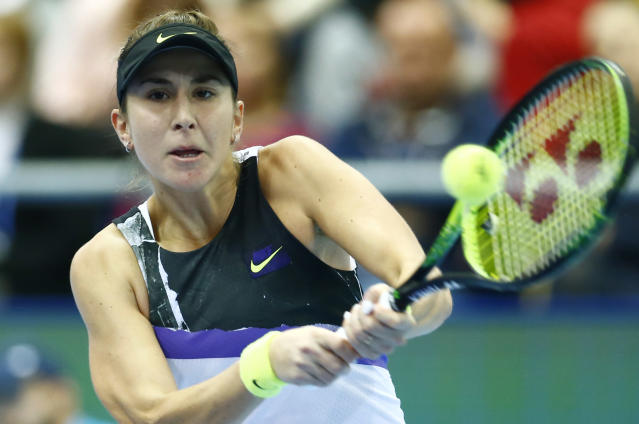 Belinda Bencic of Switzerland returns against Anastasia Pavlyuchenkova of Russia during the final match of the Kremlin Cup tennis tournament in Moscow, Russia, Sunday, Oct. 20, 2019. (AP Photo/Alexander Zemlianichenko)