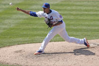 New York Mets relief pitcher Edwin Diaz delivers during the eighth inning of a baseball game against the Miami Marlins at Citi Field, Sunday, Aug. 9, 2020, in New York. (AP Photo/Kathy Willens)