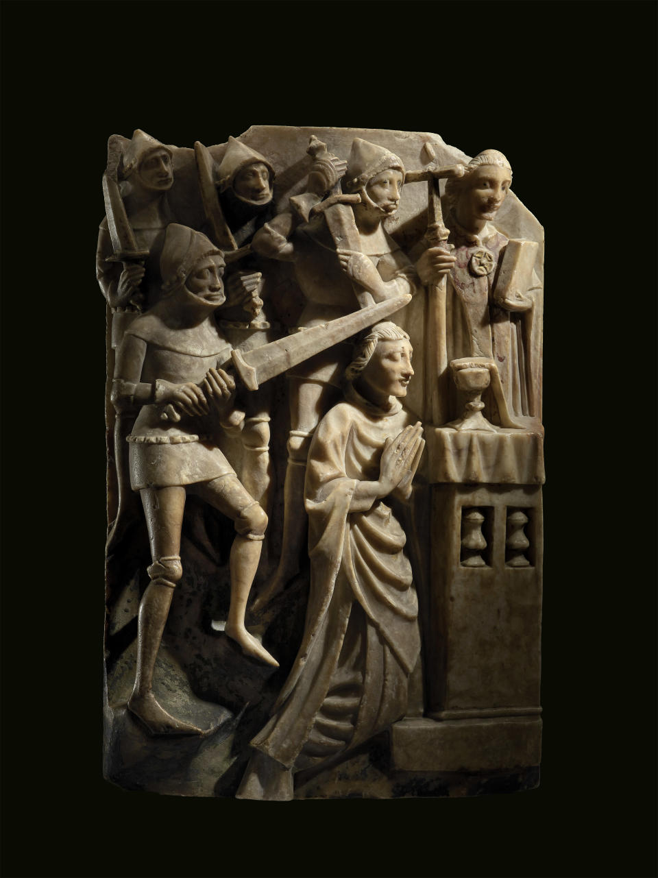 A 15th Century alabaster panel showing the murder of Thomas Becket (The Trustees of the British Museum)