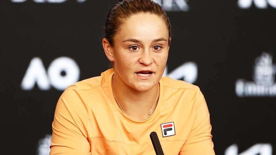 Ash Barty, pictured here speaking to the media at the Australian Open.