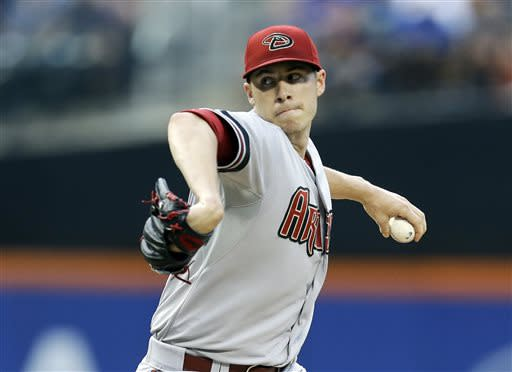 Arizona Diamondbacks' Patrick Corbin delivers a pitch during the first inning of a baseball game against the New York Mets Tuesday, July 2, 2013, in New York. (AP Photo/Frank Franklin II)