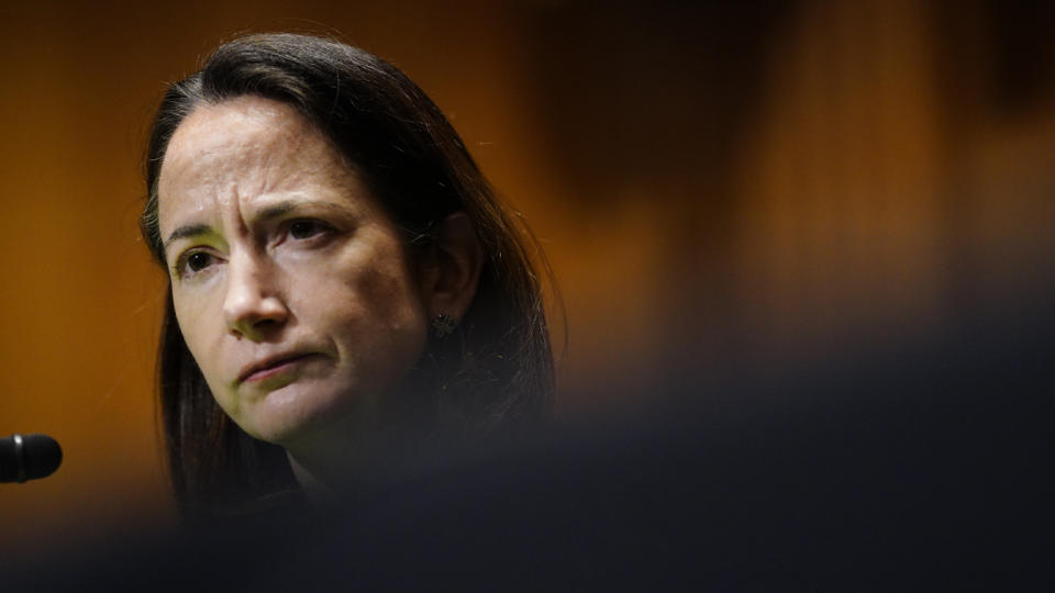 Avril Haines testifies at her confirmation hearing before the Senate Intelligence Committee. (Melina Mara-Pool/Getty Images)