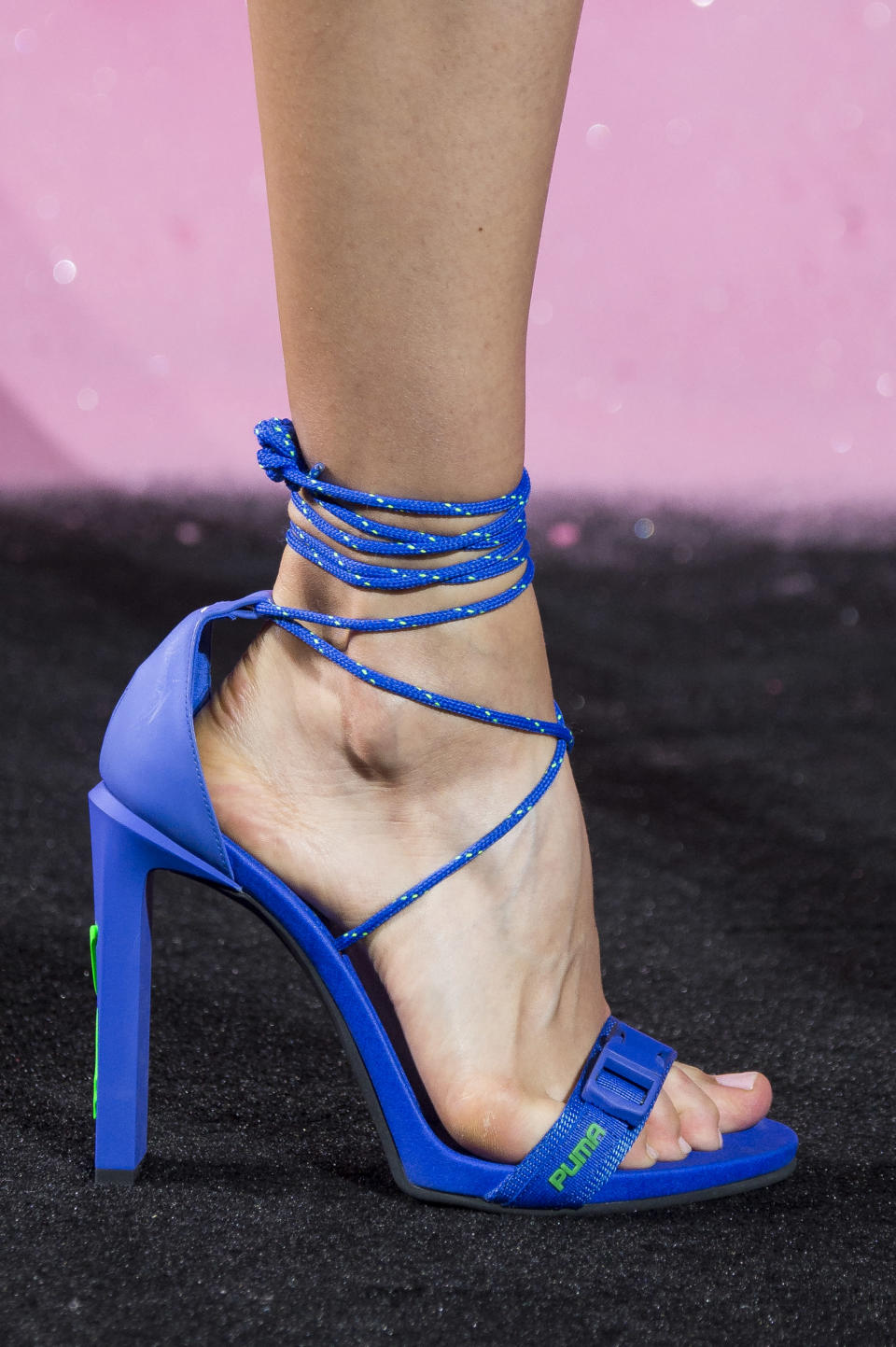 <p><i>Sporty blue heels from the SS18 Fenty x Puma collection. (Photo: ImaxTree) </i></p>