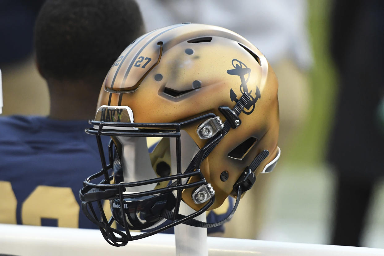PHILADELPHIA, PA - DECEMBER 14: Navy Midshipmen helmet sits on the bench during the Army-Navy game on December 14, 2019 at Lincoln Financial Field in Philadelphia PA.(Photo by Andy Lewis/Icon Sportswire via Getty Images)