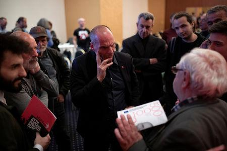 Leader of MeRA25 party and candidate for the European Parliament Yanis Varoufakis speaks with supporters following his speech during his pre-election campaign in Ioannina, Greece, May 16, 2019. Picture taken May 16, 2019. REUTERS/Alkis Konstantinidis