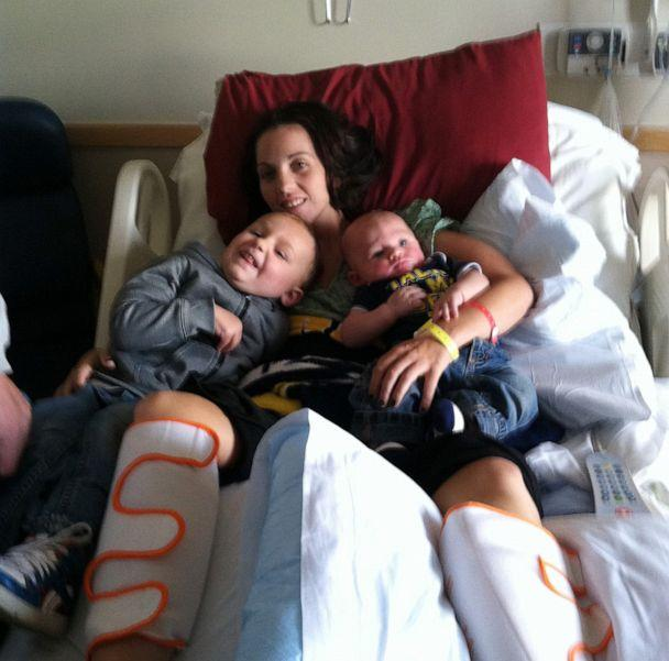 PHOTO: Kaylee Hardenbrook's children visited her in the hospital while she was recovering from Eastern equine encephalitis, a mosquito-transmitted illness. Five years later, Hardenbrook has made nearly a full recovery. (Courtesy Kaylee Hardenbrook)
