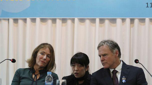 PHOTO:Fred Warmbier, right, and his wife Cindy listen about their son Otto Warmbier during a press conference in Seoul, South Korea, Nov. 22, 2019. (Ahn Young-joon/AP)