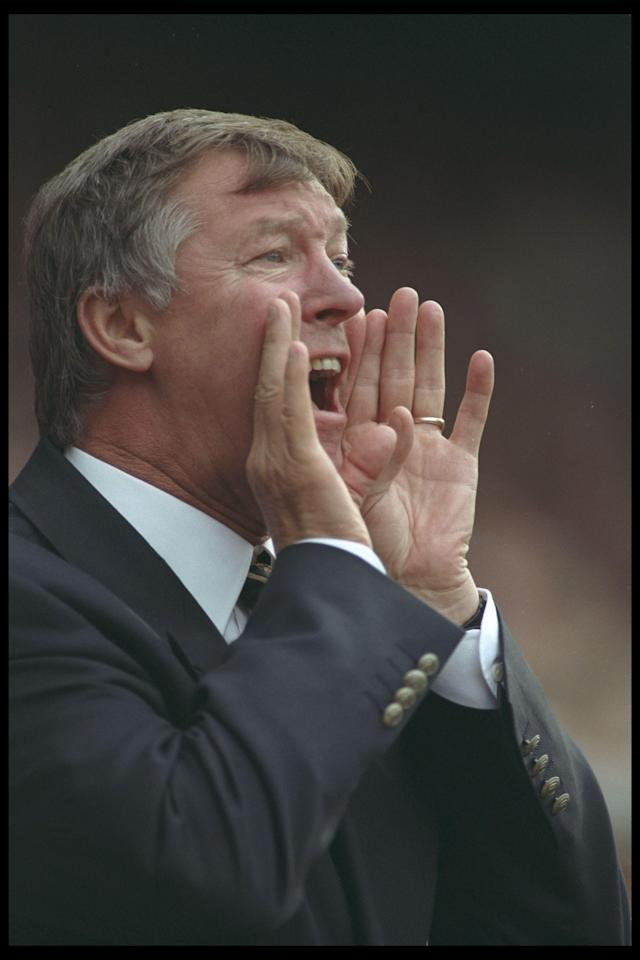 23 Aug 1996: Alex Ferguson the manager of Manchester United shouts instructions to his team during the Premier League match between Manchester United and Blackburn Rovers at Old Trafford in Manchester. The match ended in a 2-2 draw. Mandatory Credit: Clive Brunskill/Allsport