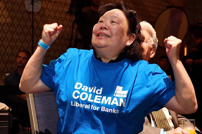 A Liberal supporter celebrates during the results count at the Federal Liberal Reception at the Sofitel-Wentworth hotel in Sydney. Source: AAP