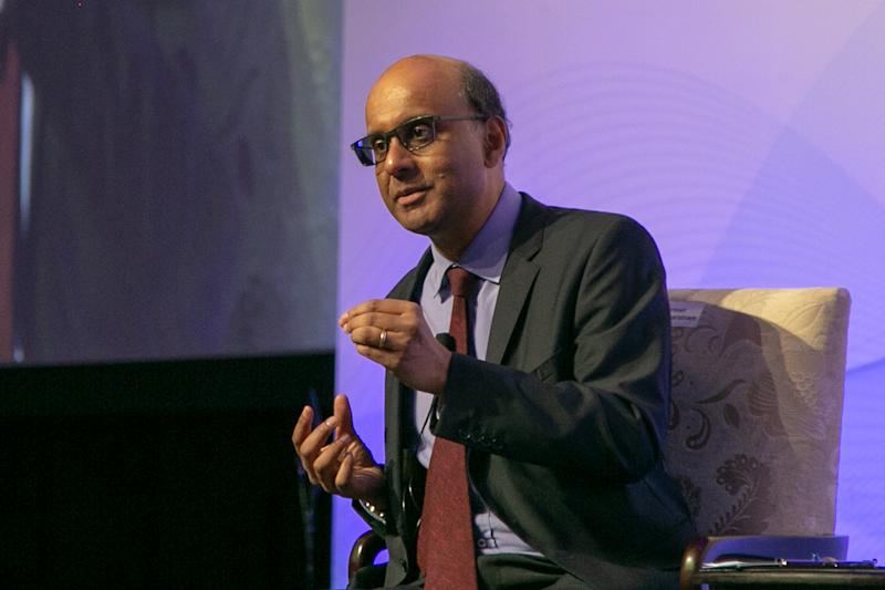 Deputy Prime Minister Tharman Shamugaratnam speaking during the pre-conference dinner for the 30th anniversary conference of the Institute of Policy Studies (IPS) on Thursday (25 October). (PHOTO: Dhany Osman / Yahoo News Singapore)