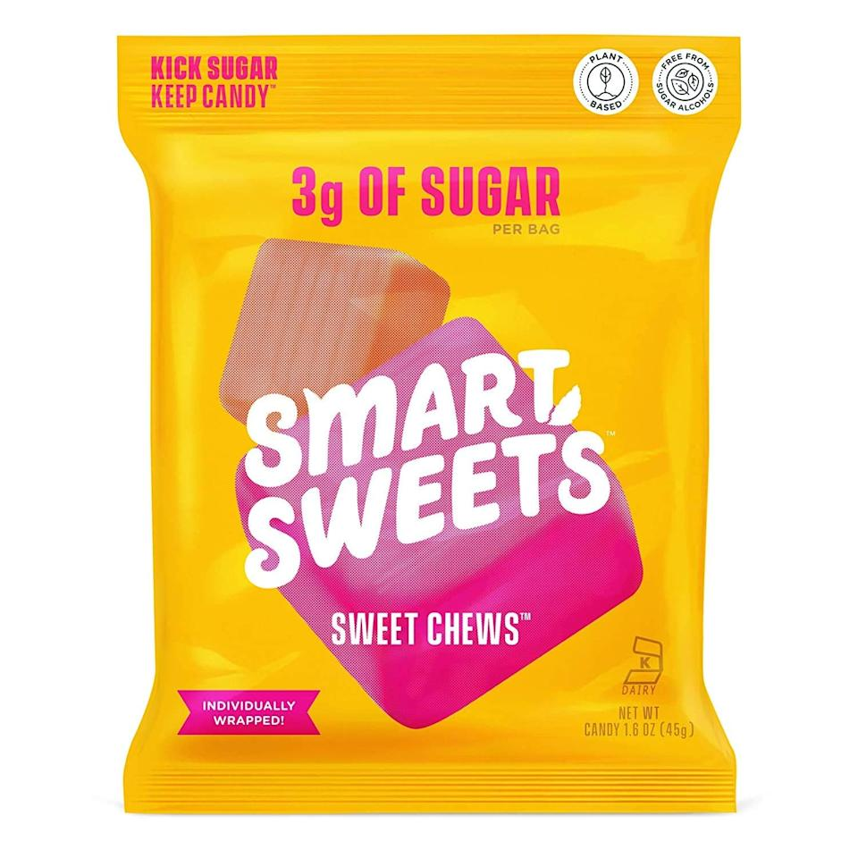 "<p>These <product href=""https://www.amazon.com/SmartSweets-Plant-Based-Certified-Artificial-Sweeteners/dp/B0863G4JSH/ref=sr_1_11?dchild=1&amp;keywords=smartsweets&amp;qid=1596221640&amp;sr=8-11"" target=""_blank"" class=""ga-track"" data-ga-category=""Related"" data-ga-label=""https://www.amazon.com/SmartSweets-Plant-Based-Certified-Artificial-Sweeteners/dp/B0863G4JSH/ref=sr_1_11?dchild=1&amp;keywords=smartsweets&amp;qid=1596221640&amp;sr=8-11"" data-ga-action=""In-Line Links"">SmartSweets Sweet Chews</product> ($36 for 12) are the newest additions to the SmartSweets family. Honestly, these grew on me. They've become a family favorite, and they're the only candy that's individually wrapped, making them excellent for sharing.</p>"