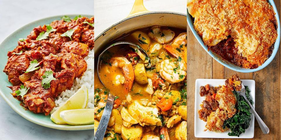 """<p>The most important decision you have to make every day is what to have for <a href=""""https://www.delish.com/uk/cooking/recipes/g32768299/easy-dinner-recipes/"""" rel=""""nofollow noopener"""" target=""""_blank"""" data-ylk=""""slk:dinner"""" class=""""link rapid-noclick-resp"""">dinner</a>. What's going to satisfy your evening cravings after work? Fill you up and make you feel all happy inside? Well, we've rounded up a bunch of delicious dinner recipes (76 to be exact) that will most certainly give you the dinner inspiration you need to pack your week with easy, flavourful and downright delicious dinners. </p><p>Go wild over a <a href=""""https://www.delish.com/uk/cooking/recipes/a30621972/beef-massaman-curry/"""" rel=""""nofollow noopener"""" target=""""_blank"""" data-ylk=""""slk:Beef Massaman Curry"""" class=""""link rapid-noclick-resp"""">Beef Massaman Curry</a>, a classic <a href=""""https://www.delish.com/uk/cooking/recipes/a30119158/cumberland-pie/"""" rel=""""nofollow noopener"""" target=""""_blank"""" data-ylk=""""slk:Cumberland Pie"""" class=""""link rapid-noclick-resp"""">Cumberland Pie</a> or a to-die-for Broccoli & Stilton Soup. You choose. </p>"""
