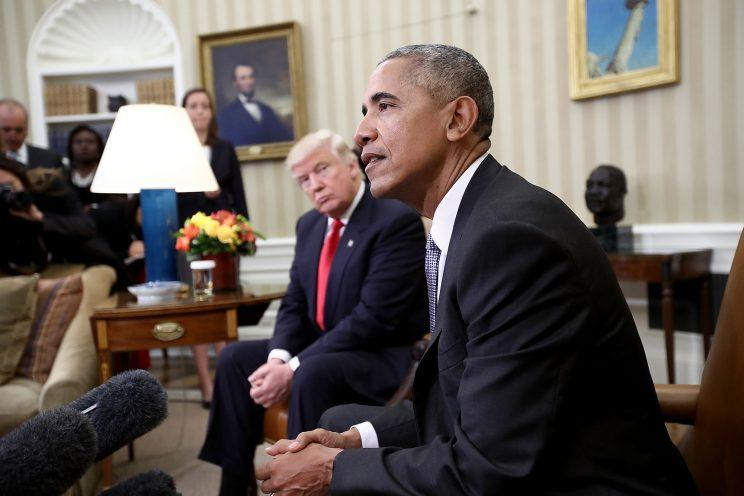 President-elect Donald Trump listens as President Obama speaks during a meeting in the Oval Office, Nov. 10, 2016, in Washington, D.C. (Win McNamee/Getty Images)
