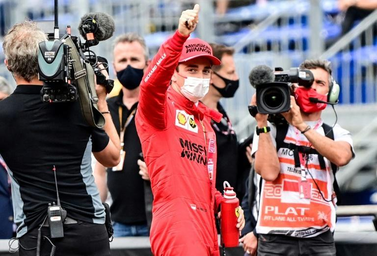 Leclerc celebrates his pole, but faces nervous wait to see if he will retain it
