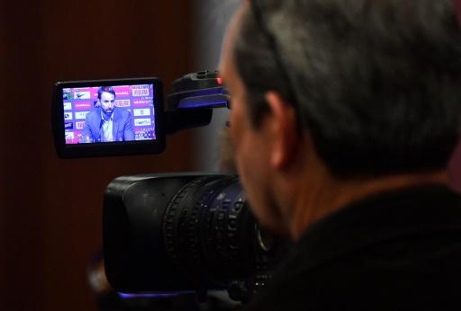 In focus: A TV camera display screen shows England manager Gareth Southgate during a press conference at Wembley on Thursday