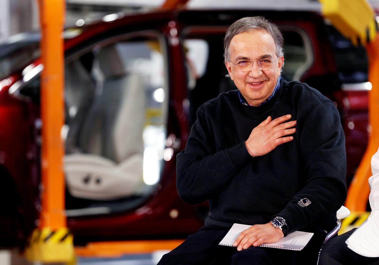 FILE PHOTO: FCA CEO Sergio Marchionne attends the celebration of the production launch of the all-new 2017 Chrysler Pacifica minivan at the FCA Windsor Assembly plant in Windsor, Ontario, U.S. May 6, 2016. REUTERS/Rebecca Cook/File Photo