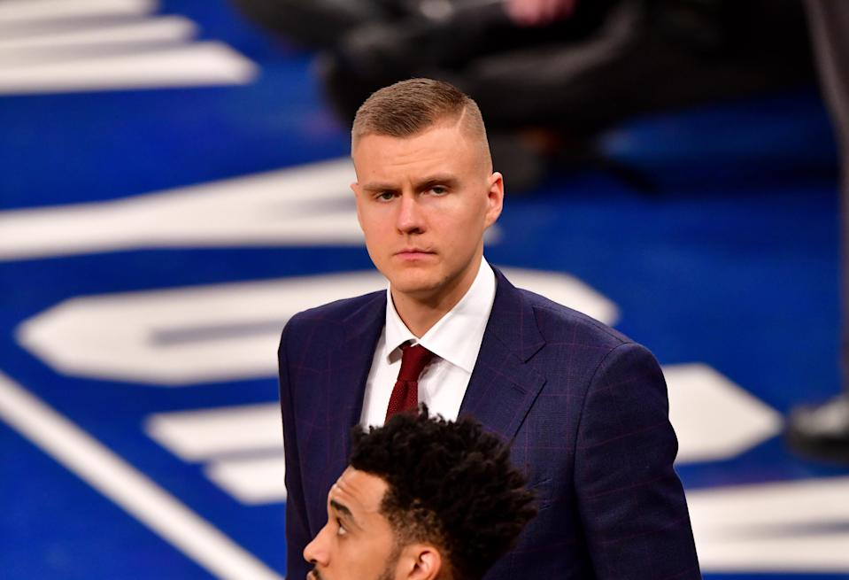 Kristaps Porzingis reportedly won't be teaming up with Luka Doncic this season. (Photo by James Devaney/Getty Images)