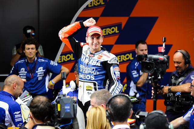 MONTMELO, SPAIN - JUNE 03: Jorge Lorenzo of Spain and Yamaha Factory Racing Team celebrates after winning the MotoGP race at Circuit de Catalunya on June 3, 2012 in Montmelo, Spain. (Photo by David Ramos/Getty Images)