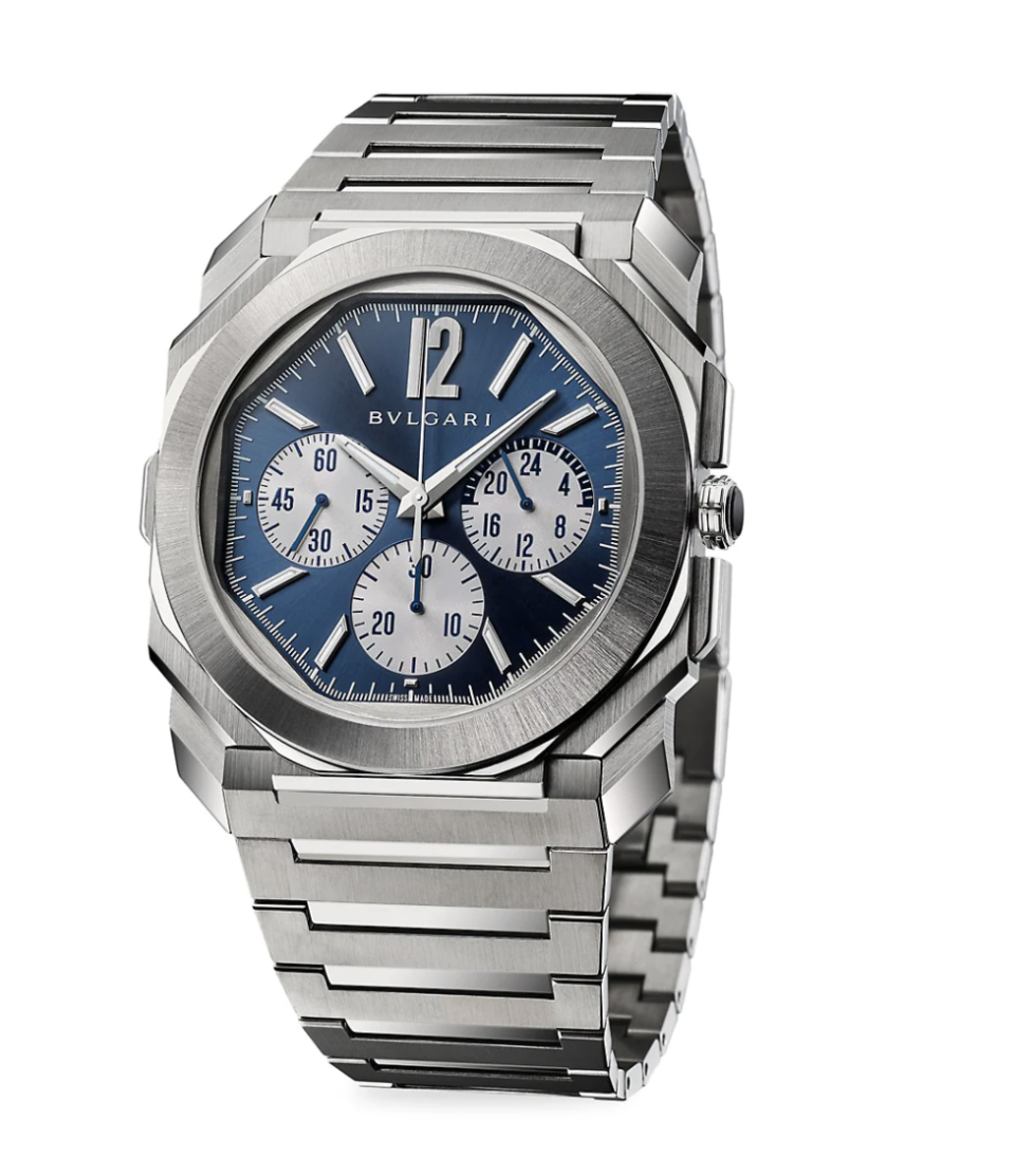 """<p><strong>BVLGARI</strong></p><p>saksfifthavenue.com</p><p><strong>$16500.00</strong></p><p><a href=""""https://go.redirectingat.com?id=74968X1596630&url=https%3A%2F%2Fwww.saksfifthavenue.com%2Fproduct%2Fbvlgari-octo-finissimo-stainless-steel-chronograph-gmt-watch-0400014068649.html&sref=https%3A%2F%2Fwww.townandcountrymag.com%2Fstyle%2Fjewelry-and-watches%2Fg14418271%2Fbest-mens-luxury-watches%2F"""" rel=""""nofollow noopener"""" target=""""_blank"""" data-ylk=""""slk:Shop Now"""" class=""""link rapid-noclick-resp"""">Shop Now</a></p><p>Inspired by ancient Roman architecture, this octagonal watch is paired down to stainless steel to really let its geometries shine. </p><p>Case size: 43mm</p>"""
