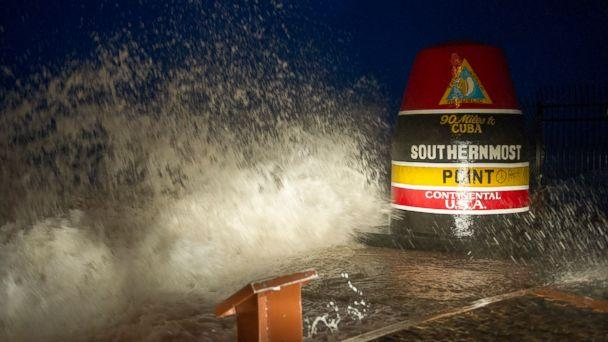 PHOTO: Waves crash against the Southernmost Point in Key West, Fla., Saturday, Sept. 9, 2017. Hurricane Irma's leading edge bent palm trees and spit rain as the storm swirled toward Florida on Saturday.  (Rob O'Neal/The Key West Citizen via AP)