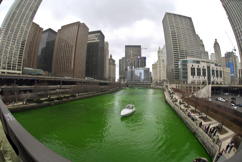 <p>The Chicago River was first dyed in 1956 and the recipe is a closely guarded secret.</p>