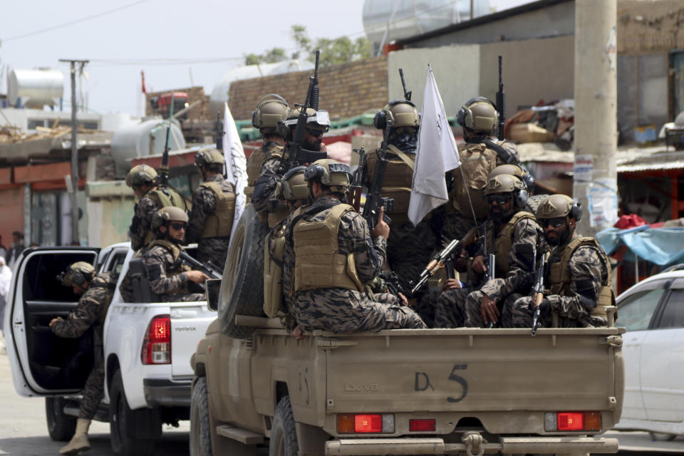Taliban special force fighters arrive outside the Hamid Karzai International Airport after the U.S. military's withdrawal, in Kabul, Afghanistan, Tuesday, Aug. 31, 2021. The Taliban were in full control of Kabul's airport on Tuesday, after the last U.S. plane left its runway, marking the end of America's longest war