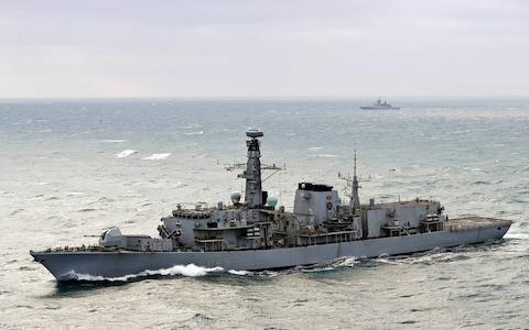 <span>HMS Westminster escorted five Russian ships through the English Channel</span> <span>Credit: Louise George </span>