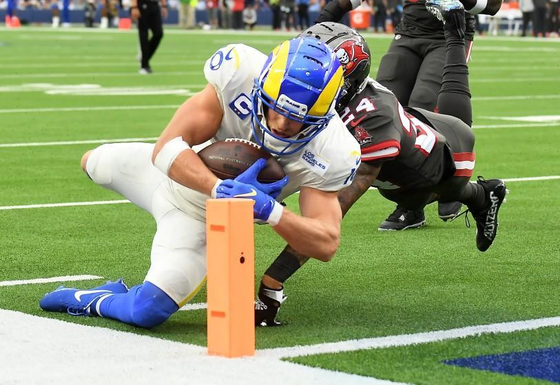 Inglewood, CA. September 26, 2021: Rams receiver Cooper Kupp dives for the end zone.