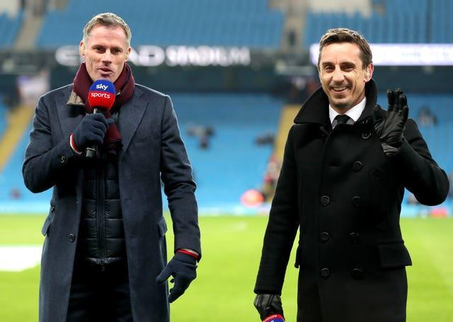 Jamie Carragher and Gary Neville working as Sky Sports football pundits before