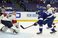 Tampa Bay Lightning left wing Alex Killorn (17) scores past Florida Panthers goaltender Sergei Bobrovsky (72) during the second period in Game 4 of an NHL hockey Stanley Cup first-round playoff series Saturday, May 22, 2021, in Tampa, Fla. (AP Photo/Chris O'Meara)