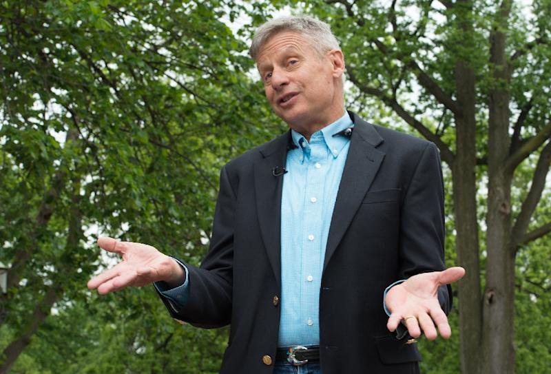 "Gary Johnson describes himself as ""the best of both worlds"" regarding his stance on social and fiscal issues during an interview in Washington, DC on May 9, 2016 (AFP Photo/Nicholas Kamm)"