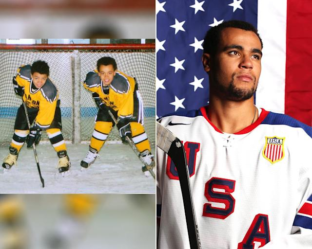 <p><strong>THEN:</strong> Big brother Jordan Greenway (right) with younger brother JD.<br><strong>NOW:</strong> He's the first African-American to play hockey for Team USA.<br> (Photo via Instagram/greenway12; AP Photo/Rick Bowmer) </p>