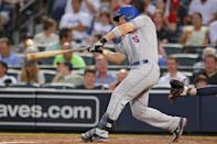 New York Mets third baseman David Wright hits a double in the sixth inning in the second game of a baseball doubleheader against the Atlanta Braves Tuesday, June 18, 2013, in Atlanta. (AP Photo/Todd Kirkland)
