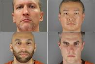 FILE PHOTO: Former Minneapolis police officers pose for booking photographs in Minneapolis