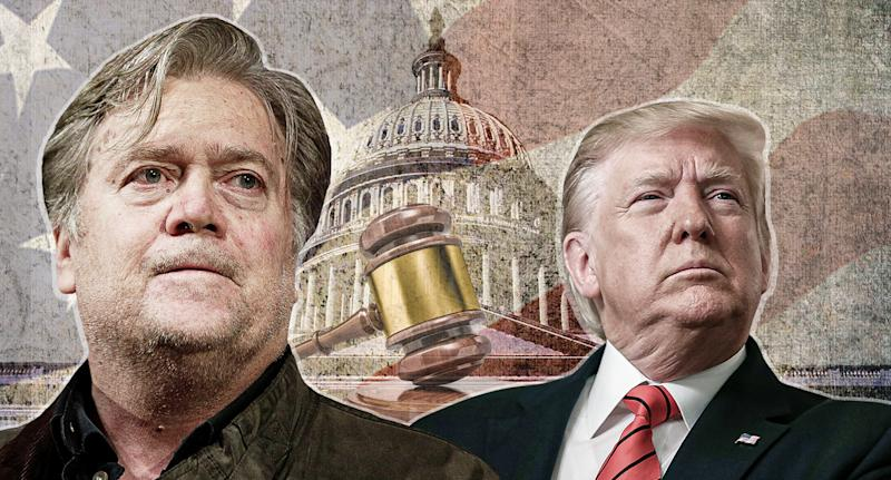 Stephen Bannon and Donald Trump. (Yahoo News photo illustration; photos: AP, Getty Images)