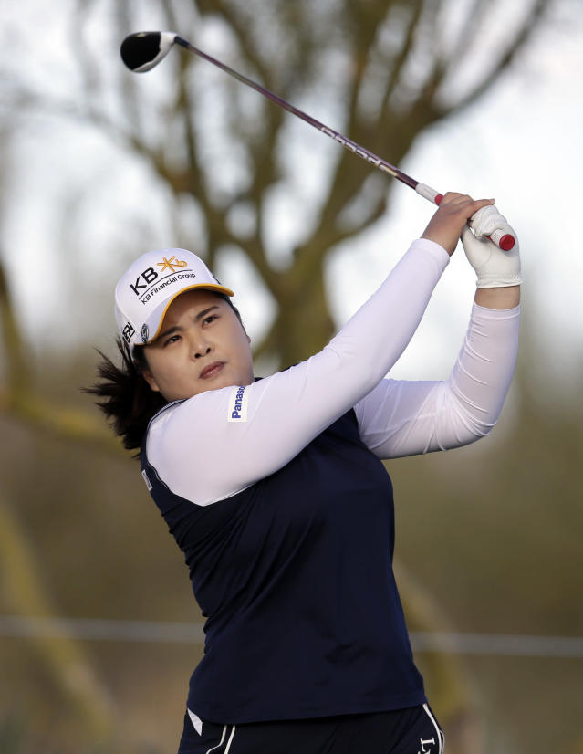 Inbee Park tees off on the 17th hole during the final round of a LPGA golf tournament on Sunday, March 18, 2018, in Phoenix. (AP Photo/Rick Scuteri)
