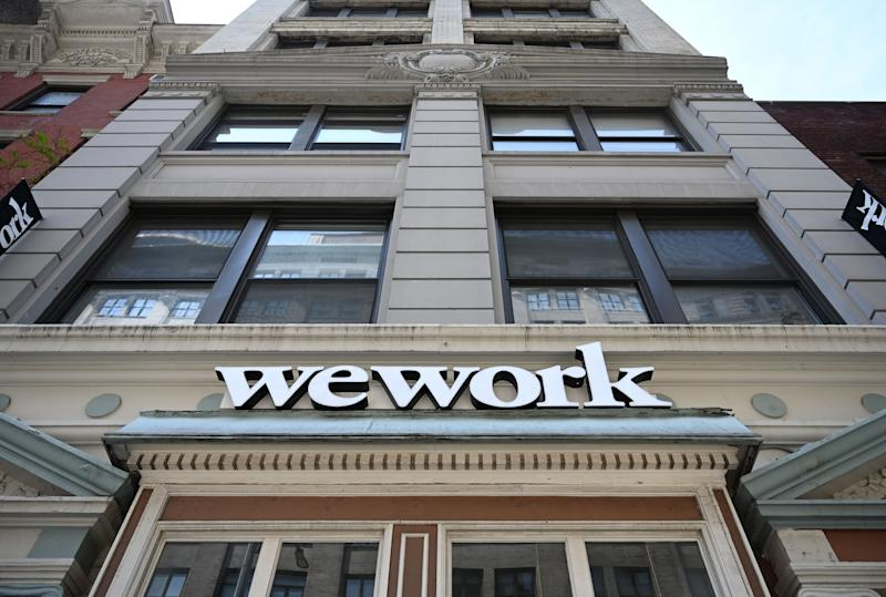 A WeWork office is seen in New York City on July 19, 2019. - With its free coffee, couches and glass partitions, shared workspace startup WeWork has shaken up both office culture and commercial real estate. Brushing aside questions about its business model, the New York outfit shows no signs of slowing down and is now preparing for its Wall Street debut to raise fresh capital. (Photo by TIMOTHY A. CLARY / AFP) (Photo credit should read TIMOTHY A. CLARY/AFP/Getty Images)