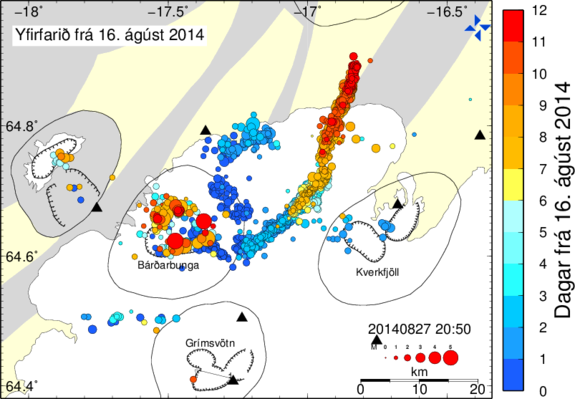 This color-coded map shows the earthquakes that have occurred around Iceland's Bardarbunga volcano since Aug. 16, with the most recent tremors in red. The progression of seismic activity shows where the underground lava-filled dike is growing.