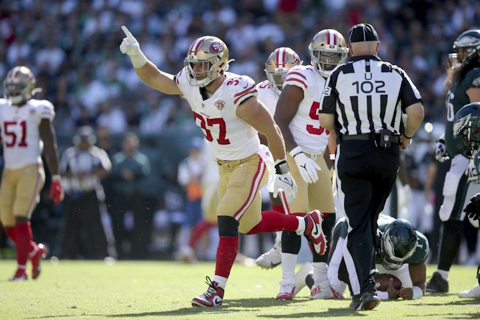San Francisco 49ers defensive end Nick Bosa in action against the Philadelphia Eagles.