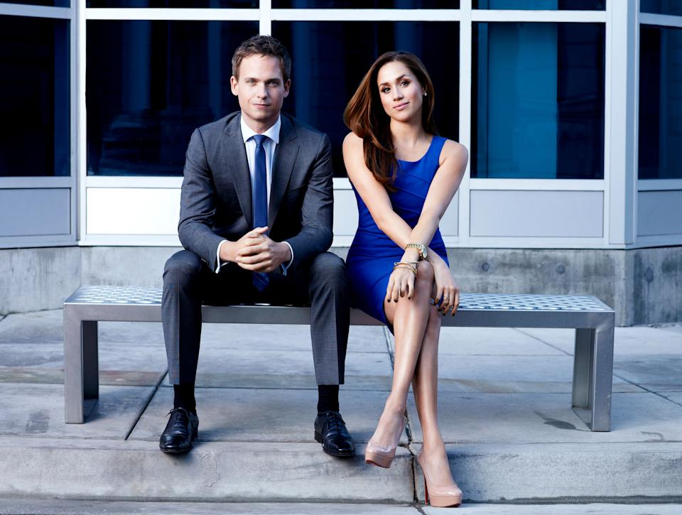 "Patrick J. Adams as his ""Suits"" character Mike Ross and Meghan Markle as Rachel Zane. Adams posted a lengthy Twitter thread defending his former co-star against allegations of bullying.  (Photo: Robert Ascroft/USA Network/NBCU Photo Bank/Getty)"
